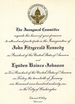 Invitation to the Inauguration of John Fitzgerald Kennedy for President
