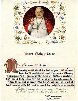 Papal blessing from Pope John XXXIII