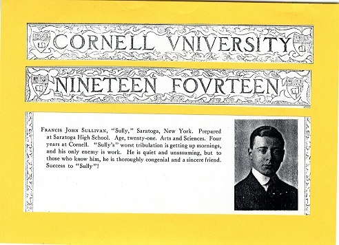 Frank Sullivan's college yearbook entry