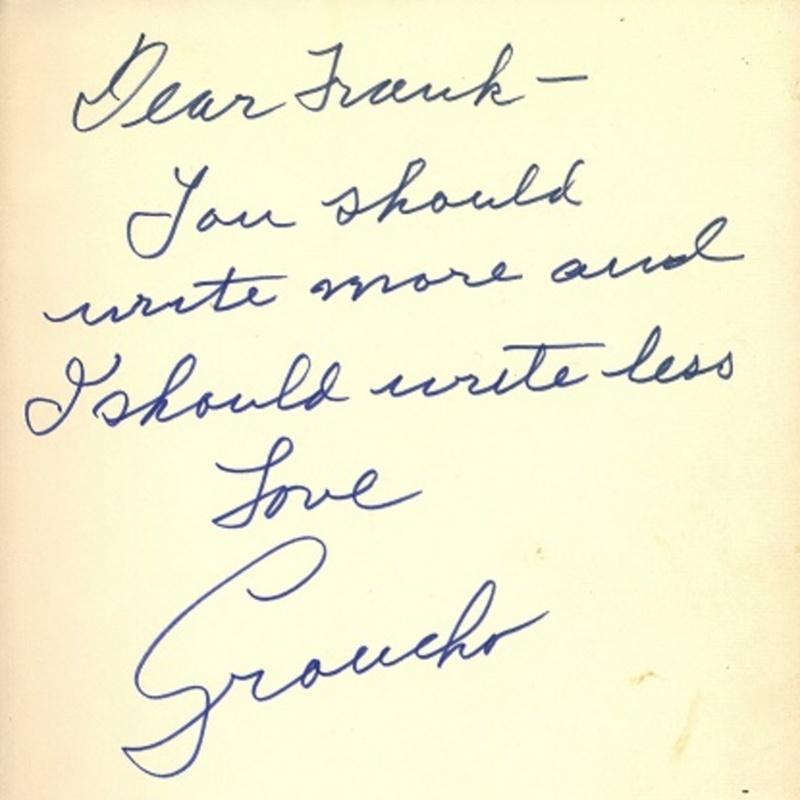 Inscription to Frank Sullivan