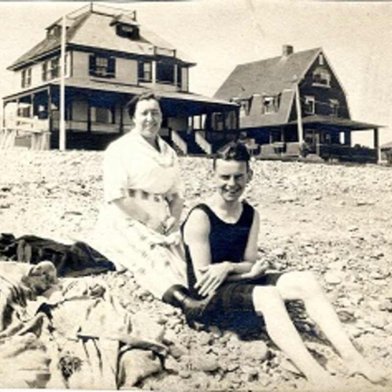 Frank and mother at the beach