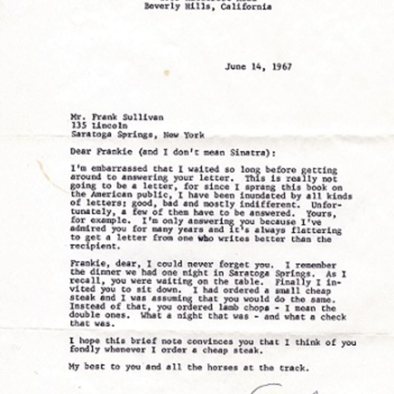 Letter from Groucho