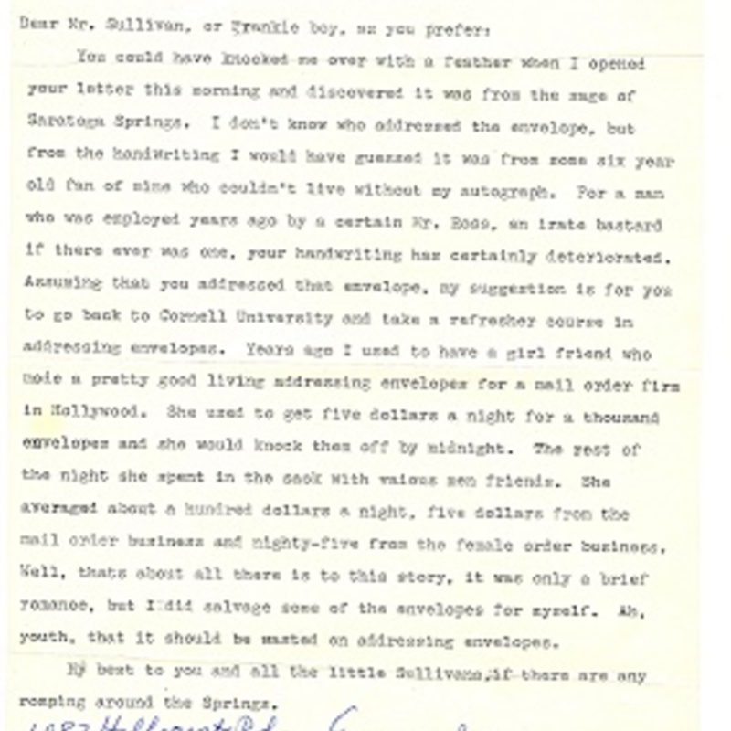 Letter from Groucho Marx