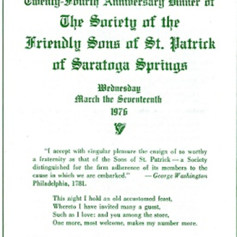 Program from the Friendly Sons of St. Patrick Annual Dinner