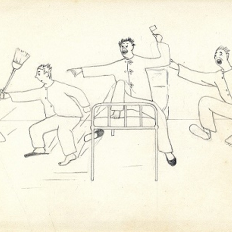 Drawing by Frank Sullivan- entering the hospital