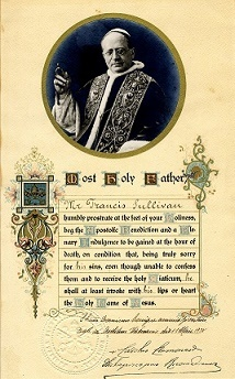 Papal Blessing from Pope Pius the XII