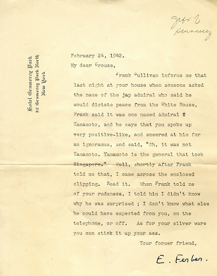 Letter from Edna Ferber to Russel Crouse