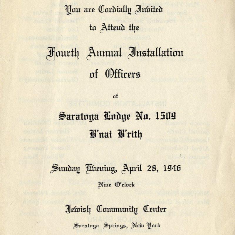 B'nai Brith Installation of Officers, Program